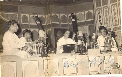 Signed Photo of Begum Akhtar on Harmonium