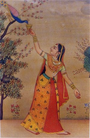 Indian Painting Images on Lady Feeds A Peacock North Indian Painting