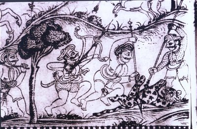 Tiger Hunting with Spears