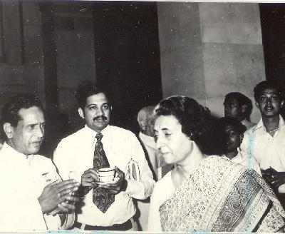 Bhimsen Joshi (on left) with India Gandhi