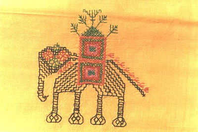 An Elephant in Silk Embroidery