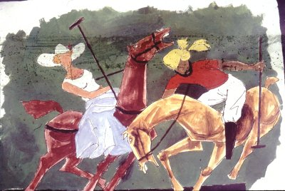 Woman and Sardar at Polo -- Painting by M.F. Husain