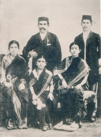 Umabai Kundapur (far left) with Anand Rao (father-in-law) and  husband Sanjiv Rao (right)