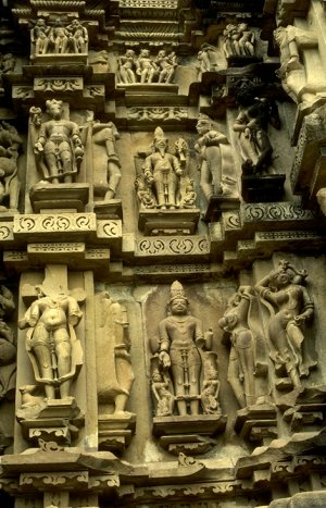 Carvings at a Khajuraho temple
