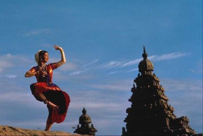 Dancer and Temple at Mahabalipuram