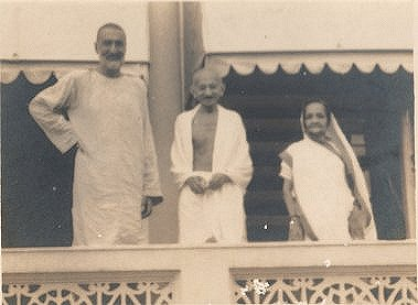 Gandhi with Badashah Khan and Kasturba