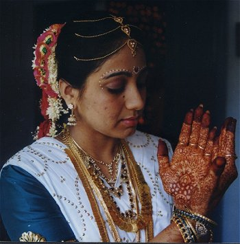 Henna Designs on a Brides` Hands