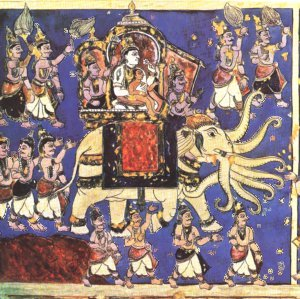Lord Indra riding the Iravat, the eight trunked elephant