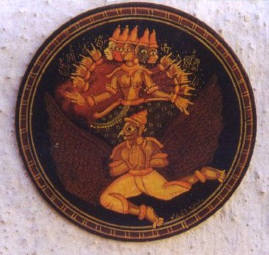 Garuda Carrying Gayatri