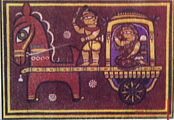 Horse Pulled Cart - Painting by Jamini Roy