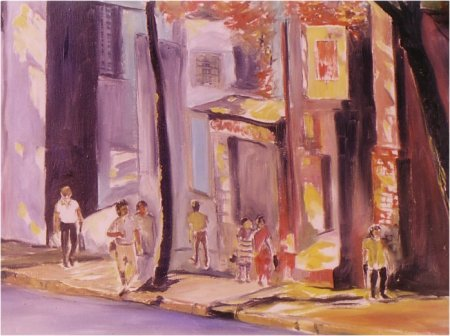 A Street in Malleswaram -- Painting by Artist Shivanand Bekal