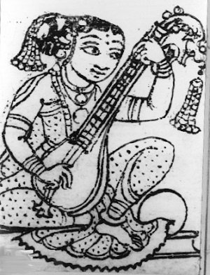 A Girl Practising the Veena  instrument