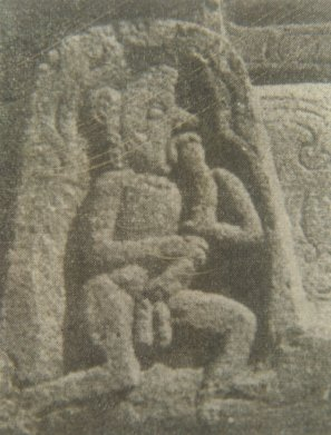 Man Tastes Own Phallus - Ancient Sculpture from India