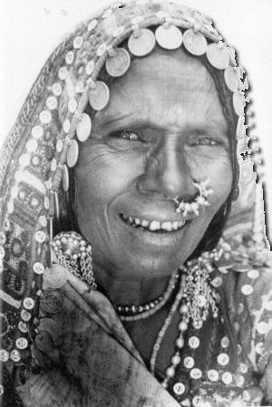 An elderly Lambani decked up in all her finery