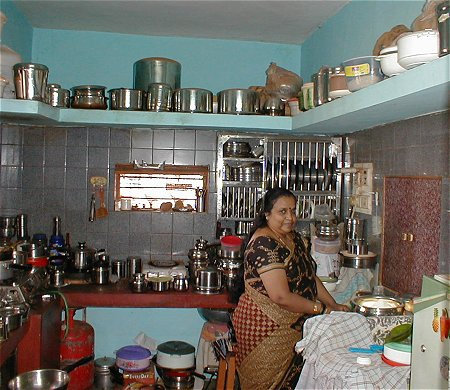 Indian Housewife in her Kitchen