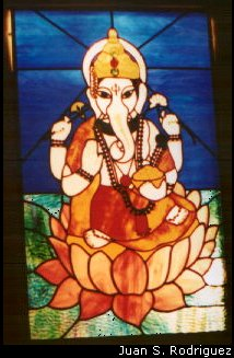 Ganapati in Stained Glass Artwork