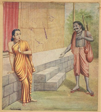 Rawana approaches Sita in the garb of mendicant