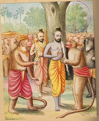 Rama gives his ring to Maruti, so Sita can recognize him as a messenger
