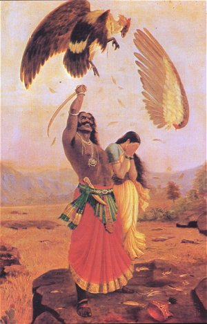 Jatayu, a bird devotee of Lord Rama is mauled by Rawana