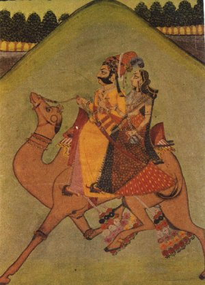 Couple Rides a Camel - Painting from Rajastan