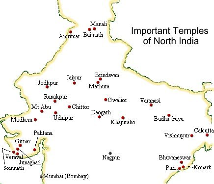 Map showing important temples of North and Central India