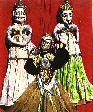 Wooden Puppets in Traditional Clothing