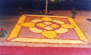 A Rangoli Made with Flowers