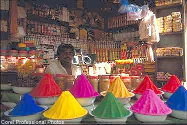 Man Selling Materials for Hindu Worship