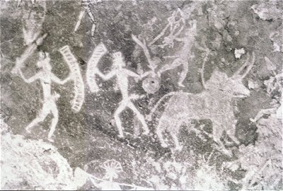 Warriors, Bhimbetaka Rock Painting