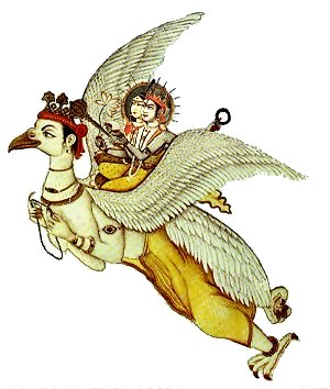 Lord Krishna Rides the Bird Garuda