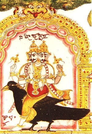 Two Headed Deity Shani Rides a Crow