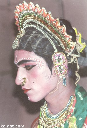 Man Dressed as Woman for a Yakshagana Performance
