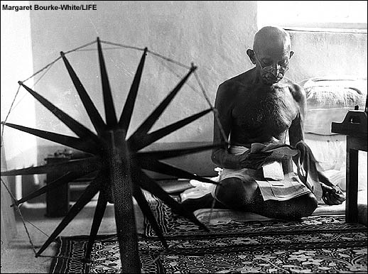 Gandhi and his Spinning Wheel