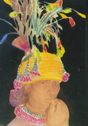 Headgear Decorated with Flowers & Feathers