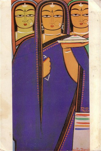 Three Pujarinis -- Painting by Jamini Roy