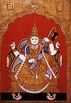 Goddess Saraswati in a Tanjore style painting