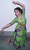 Girl Practicing a Bharatanatyam Move