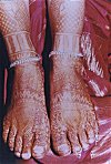 The Henna Art of the Feet of a Bride