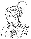 A tattooed woman – a sketch by the author, Bastar, Madhya Pradesh