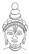 Krishna with butter on his face  – line drawing based on a Sibi painting