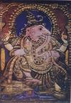 Elephant Headed Ganesh in a Tanjore Gesso Painting