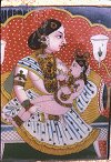 Krishna Suckles Milk - Mysore Traditional Painting