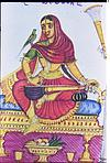 Female musicians, Veena player with parrot