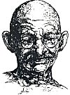 Line Drawing of Mahatma Gandhi