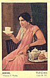 Woman Welcomes by Offering tea