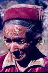 A old woman with rings and wrinkles