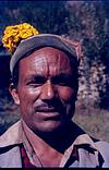 A villager from himachal Pradesh with flower tilak