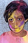 Girl with Powdered Color on Face