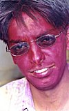 Colors are sprayed on each other on the Holi day