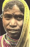 A Tribal woman wearing self-made jewelry, Madhya Pradesh